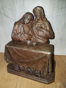Jesus at the meal at Martha and Mary (Luke 10 verse 38-42)-Bronze-ca. 1850