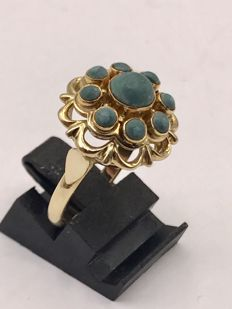 Large handmade gold women's ring with aventurine - Ring size 18 - No reserve