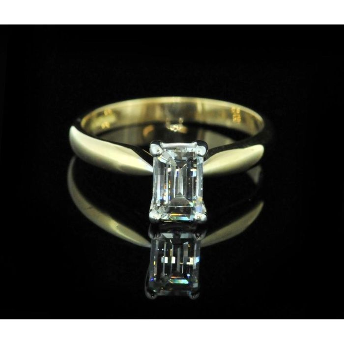 Yellow gold 0.50 ct millennium cut diamond - Ring size: I 1/2.