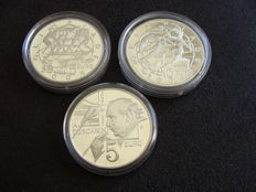 "San Marino – 5 and 10 Euro 2003 ""Olympic Games Athens"" + 5 Euro 2007 ""50th anniversary of Arturo Toscanini's death"" (3 pieces) – silver"
