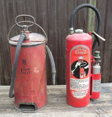 Two large fire extinguishers - +/- 65.5 and 73 cm - 1930s and 1960s