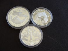 Slovakia - 10 + 20 Euro 2009, 2010 and 2011 (3 different coins) - silver