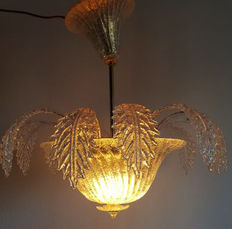 Barovier & Toso chandelier - Murano glass with leaves, approx. 1970, Italy