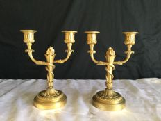 Pair of candlesticks in gilded bronze - France - end XIX century
