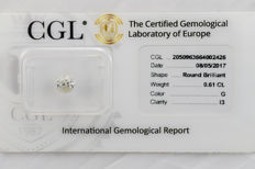 0.61 ct brilliant cut diamond  G  I3   ** No Reserve **