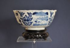 5.	A Chinese porcelain bowl with scenery of landscapes and plants, 19th century or earlier.