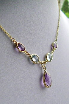 14 kt gold - topaz - amethyst necklace - 43 to 45 cm