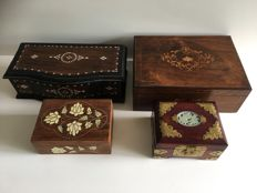 4 x Small inlaid wooden casket from Asia - 20th century
