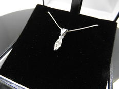 18k Gold Marquise Diamond Pendant and Chain - 0.50 ct H VS1