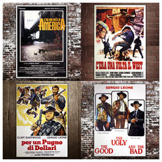 4 Sergio Leone Film Posters: The Good The Ugly And The Bad - A Fistful of Dollars - Once Upon a Time in the West - Once Upon a Time in America