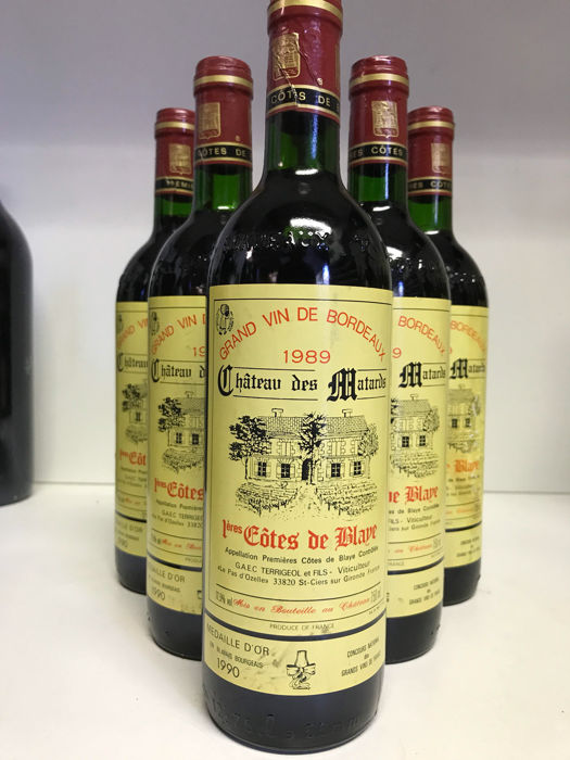 1989 Chateau des Matards, 1eres Cotes de Bordeaux Blaye, France , 6 bottles 0,75l