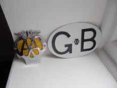 vintage  AA GB alloy plate 1960 un-used and AA chrome car badge with   grille fixings 1967