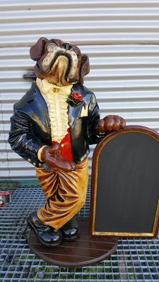 Figure of a butler with a menu - height is +/- 85 cm
