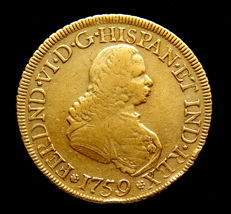 Spain - Fernando VI - Doubloon of 8 Escudos 1759 Popayán J - gold - Rare.