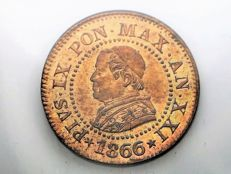 Papal State – 1 cent, 1866 – Pope Pious IX