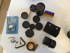 Canon 135mm FD lens - with various accessories