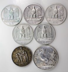 Kingdom of Italy - 5 and 10 Lire, 1926-1930 - Victor Emmanuel III (7 coins) –silver