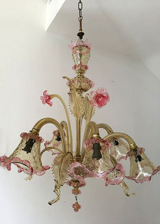 """""""Secolo"""" - Antique artistic Murano glass chandelier - Venice - Entirely hand-made"""