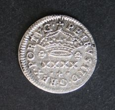 Portugal – ½ Tostão in SILVER – D. Pedro II – 1683-1706 – Full stop at the end of the legend – Porto – VERY RARE