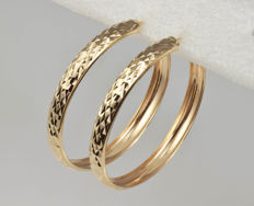 14 kt gold. Creole earrings. Diameter: 42 mm