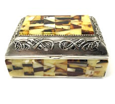Treasure chest jewellery box decorated with Natural Baltic amber