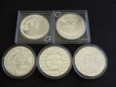 Spain, 10 Euro, 2002/2005 (5 different coins) - silver