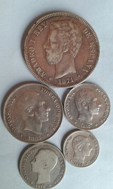 Spain – Lot of 5x coins – 10, 20, 50 centavos de peso from Philippines – 5 pesetas 18*74 and 18*76