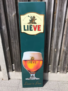 Beautiful large enamel advertising sign for Lieve beer 150x40 cm - Belgium - 2nd half of 20th century