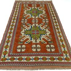Kazak, 243 cm x 146 cm, rust-coloured/brique Persian rug, 100% wool, clean rug in top condition