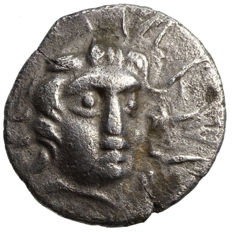 Ancient Greece - Karien - Rhodos (~150 BC) AR Hemidrachm, Helios, Rose