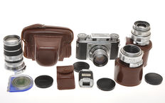 Voigtlander, outfit Prominent 35mm with 4 lenses, 50/1.5, 35/3.5, 100/4.5, 150/4.5 and Turnit 3 finder