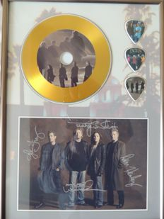 Decorative Gold Plated CD - The Eagles - With Printed Signed Picture And 3 Special Guitar Pics Framed