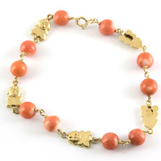 18 kt gold bracelet with natural Pacific coral – length:  17.50 cm (approx.).
