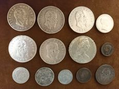 Kingdom of Italy – Lot of 13 coins (incl. silver)