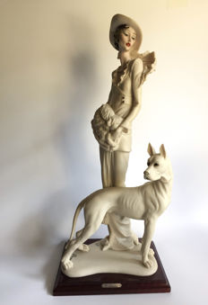 Capodimonte G. Armani - Large sculpture of lady with dog