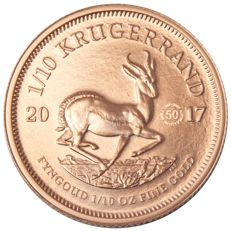 "South Africa – 1/10 Krugerrand 2017 ""50th anniversary"" with privy mark – 1/10 oz Gold"
