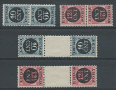 The Netherlands 1924 – Postage paid reverse print pairs – NVPH P67a/P68b