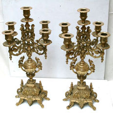 Two large brass candlesticks, 1960s