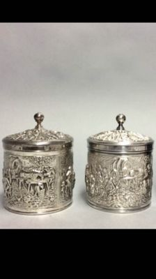 Two silver plated Douwe Egberts tea boxes of approx. 1960