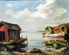"Indistinctly signed, circa 1950, ""Coastal village with Jetty""."