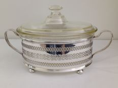 Silver plated holder with insert and cover, England, 2nd half 20th century