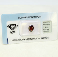 Reddish Orange – Zircon – 3.12 ct – No Reserve