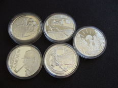Belgium - 10 Euro coins 2002/2005 (5 different ones) - silver
