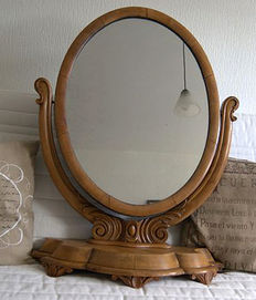 Large light-oak dressing table mirror, 30 years, 1930s