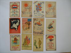 Postcards; Lot with 43 satirical and liberation postcards - Ca. 1945