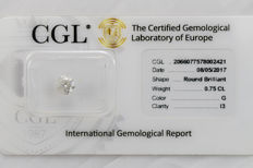 0.75 ct brilliant cut diamond  G  I3