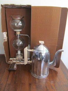 Glass Hellem coffee maker in box and coffee pot
