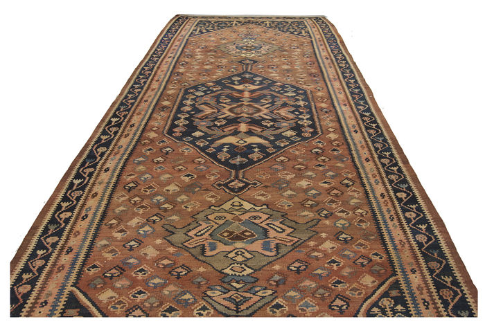 Dimensions: 416 x 200 cm - Antique genuine original Cicim Kilim rug - Collector's item - Comes with Certificate of Authenticity from an official appraiser (Galleria Farah,1970)