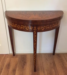 A Louis XVI style mahogany and fruitwood marquetry games table - Netherlands - 19th century