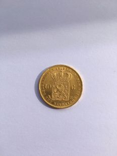 The Netherlands, 10 guilder coin, 1825B, William I of the Netherlands, gold